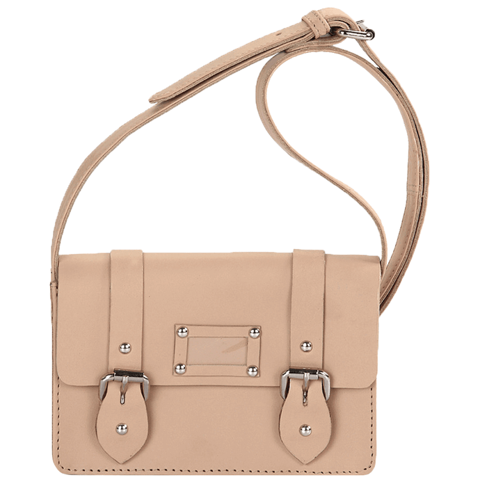 'CLARA' - Mini Nude Designer Leather Flap-over Satchel Bag