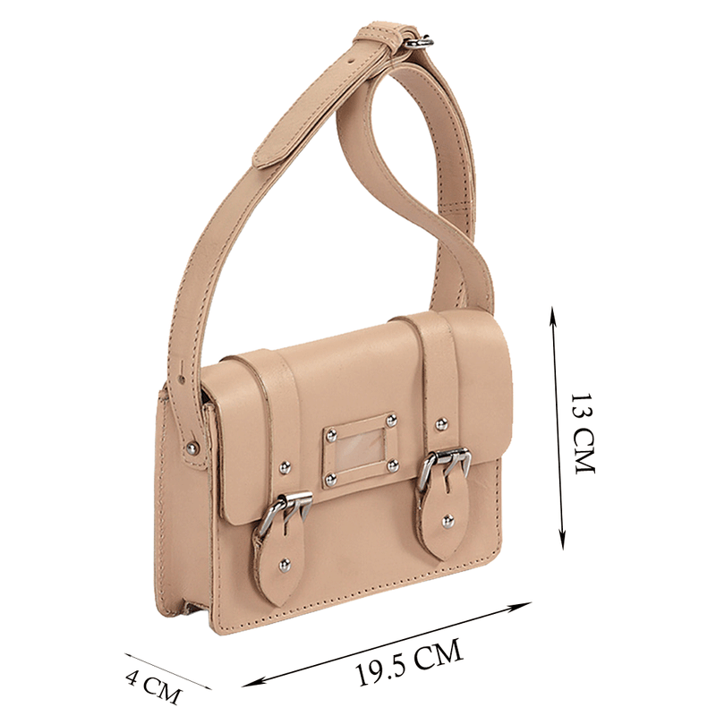 'CLARA' Mini Beige Designer Leather Flap-over Satchel
