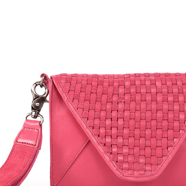 'CRESCENT' Pink Leather Flap-over Woven Clutch Bag