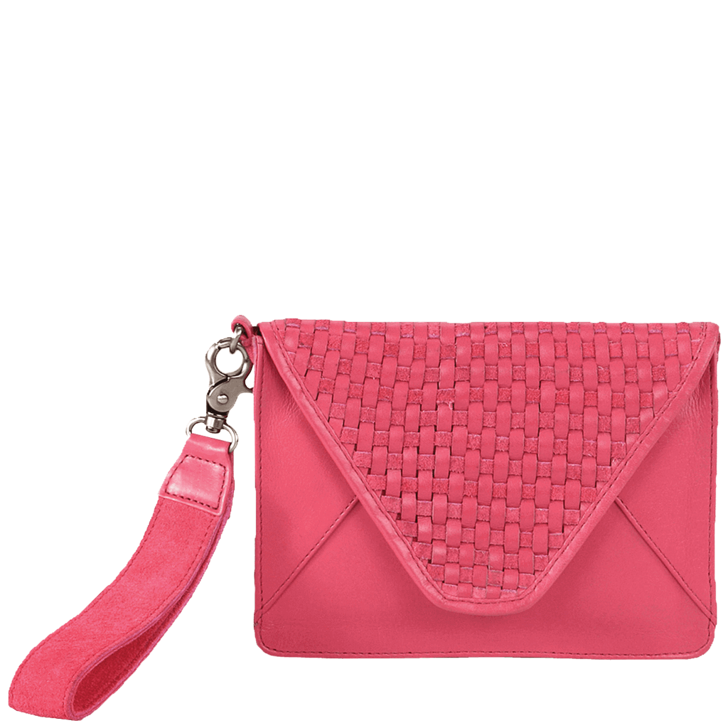 'CRESCENT' - Cabaret Pink Designer Leather Woven Clutch Bag