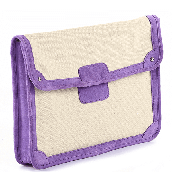 'SAVILE' - Purple Suede Trims Canvas Flap-over Portfolio Bag