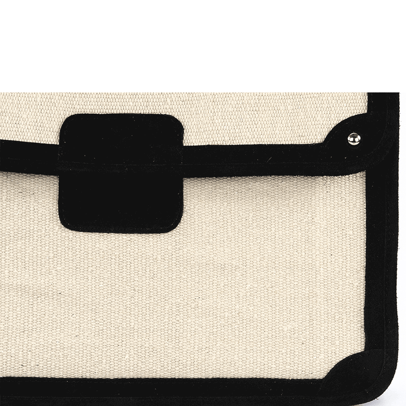 'SAVILE' - Black Suede Leather Trims Canvas Flap-over Portfolio Bag