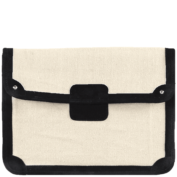 'SAVILE' - Black Suede Trims Canvas Flap-over Portfolio Bag