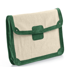 'SAVILE' - Green Suede Trims Canvas Flap-over Portfolio Bag