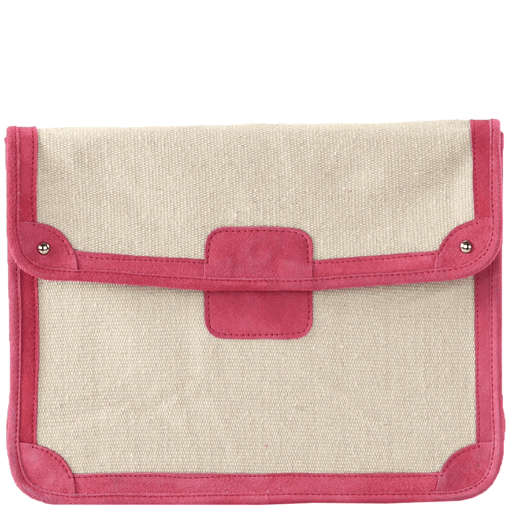 'SAVILE' - Pink Suede Trim Canvas Flap-over Carry Bag