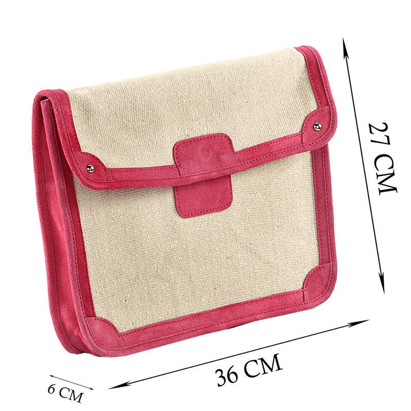 'SAVILE' - Pink Suede Leather Trims Canvas Flap-over Portfolio Bag