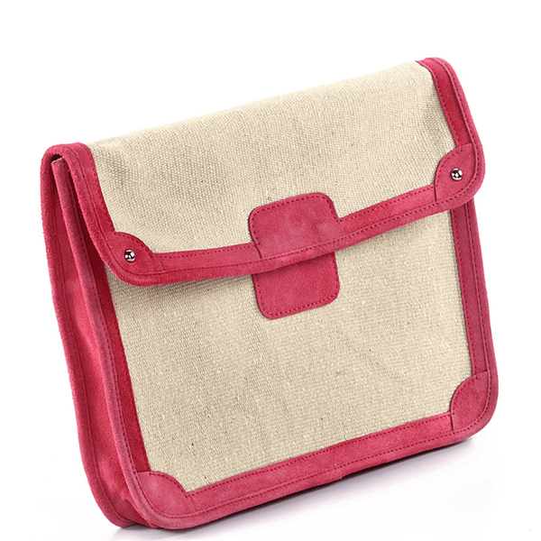 'SAVILE' - Pink Suede Trims Canvas Flap-over Portfolio Bag
