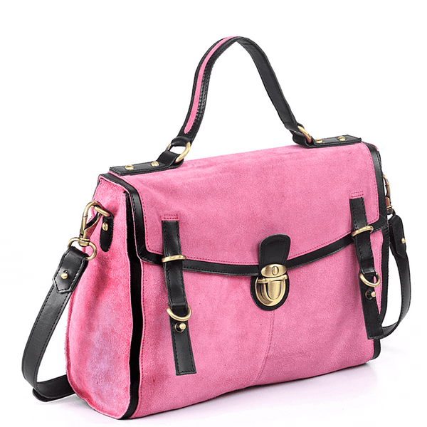 'QUINTON' - Pink Designer Leather Suede Tab-over Satchel Bag