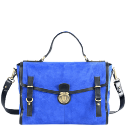 'QUINTON' - Blue Designer Leather Suede Tab-over Satchel Bag