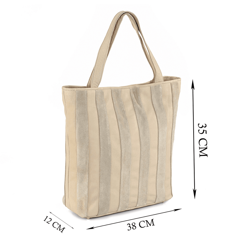 'CAMBRIDGE' Beige Designer Leather Tote Bag