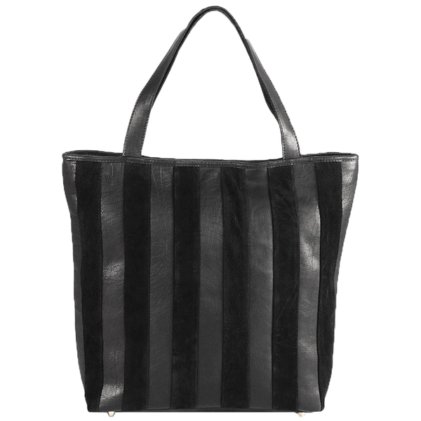 'CAMBRIDGE' - Classic Black Designer Leather Tote Bag