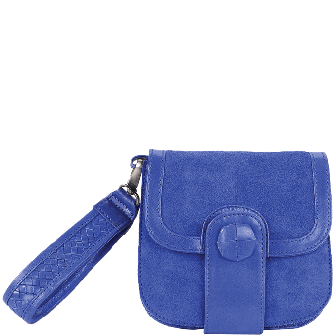 'FLOYD' - Blue Designer Leather Suede Tab-over Wristlet Bag