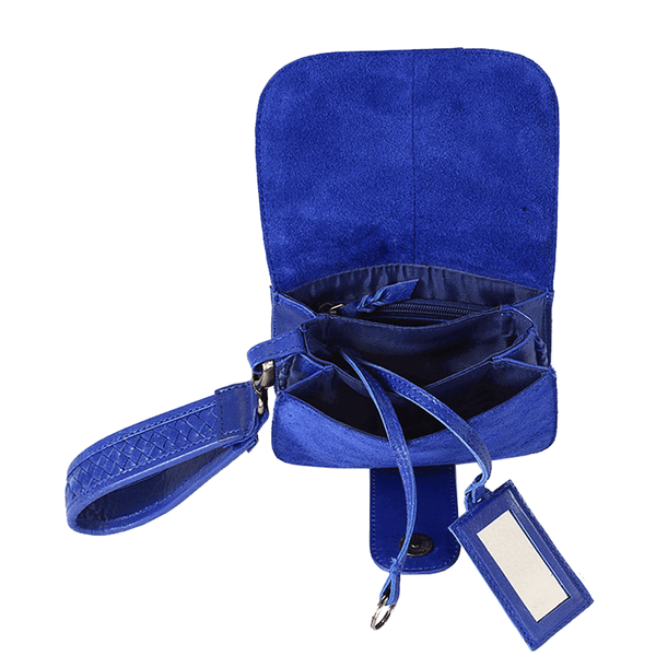 'FLOYD' Blue Suede Leather Tab-over Wristlet