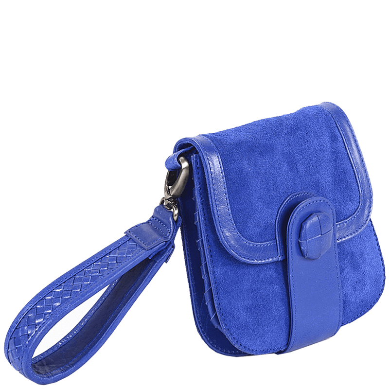 'FLOYD' - Blue Suede Leather Tab-over Wristlet Bag