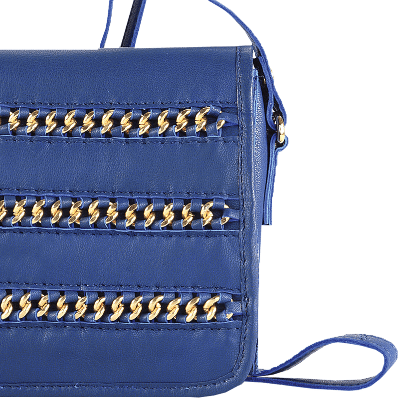 'BURNT OAK' Blue Designer Leather Flap-over Crossbody Bag