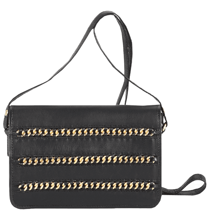 'BURNT OAK' - Black Designer Leather Flap-over Cross Body Bag