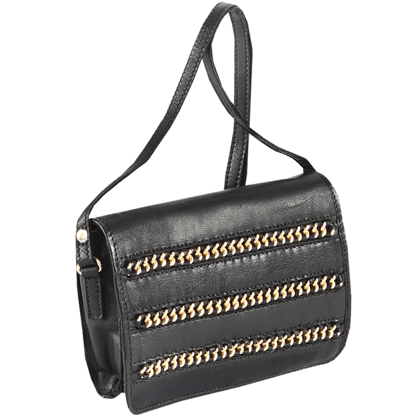 'BURNT OAK' Black Designer Leather Flap-over Crossbody Bag