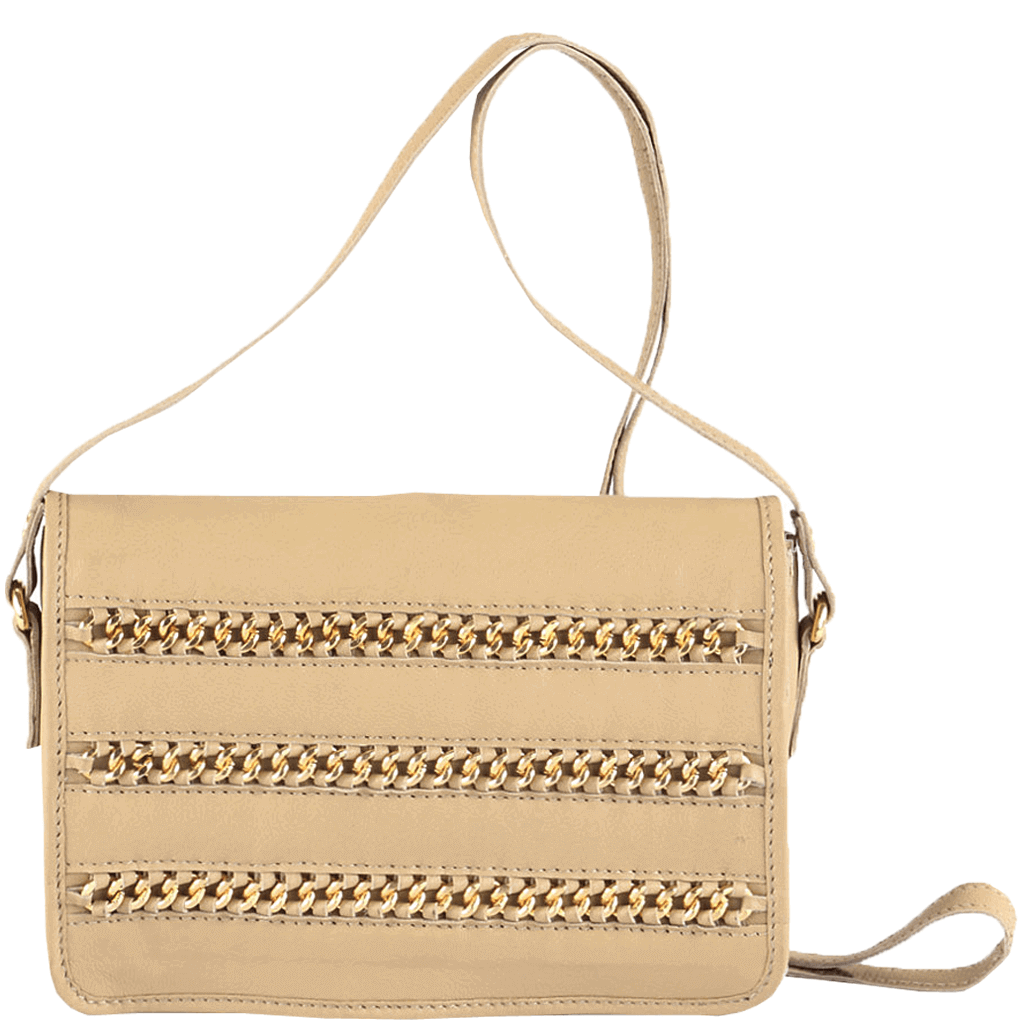 'BURNT OAK' - Nude Designer Leather Flap-over Crossbody Sling Bag