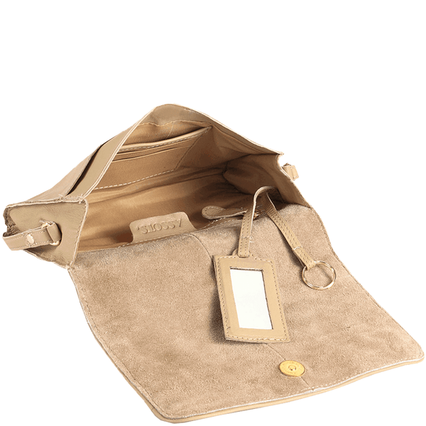 'BURNT OAK' Beige Designer Leather Flap-over Crossbody Bag
