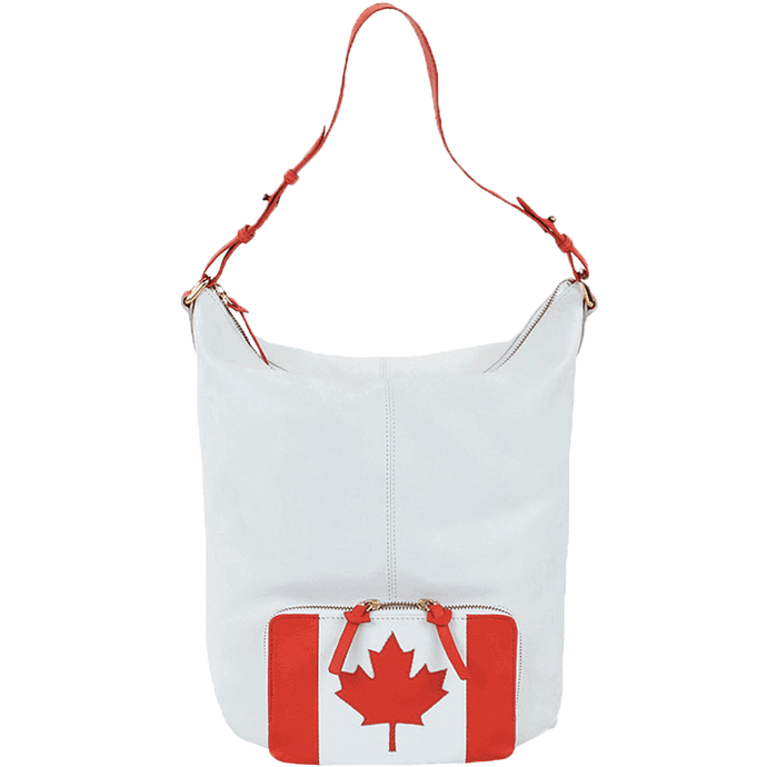 'MAPLE' - Canadian Flag Designer Leather Tote Bag