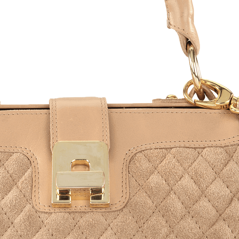 'ROSIE' - Nude Designer Quilted Leather Suede Tab-over Bowling Bag