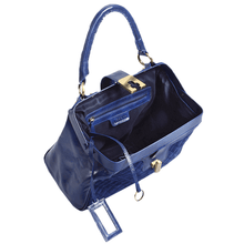 'KNIGHTSBRIDGE' - Blue Tab-over Full Grain Bowling Bag