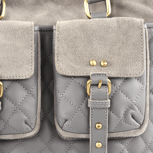 'KINGSBURY' - Grey Designer Leather Quilted Tote Bag