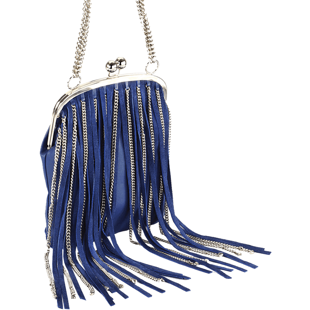'CHINGFORD' - Blue Designer Leather Fringed Shoulder Bag