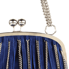'CHINGFORD' - Blue Fringed Full Grain Shoulder Bag