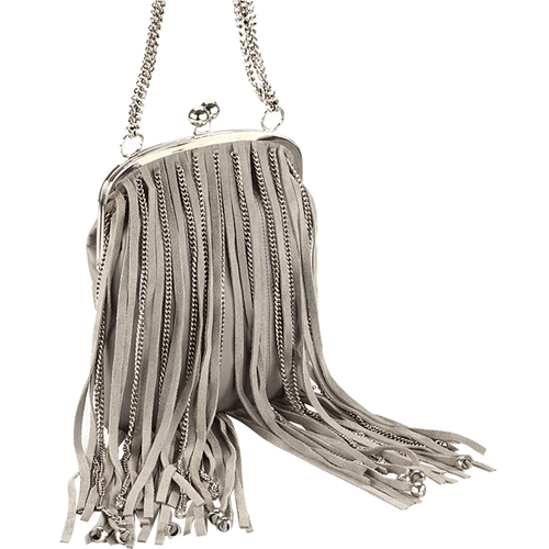 'CHINGFORD' - Grey Fringed Full Grain Shoulder Bag
