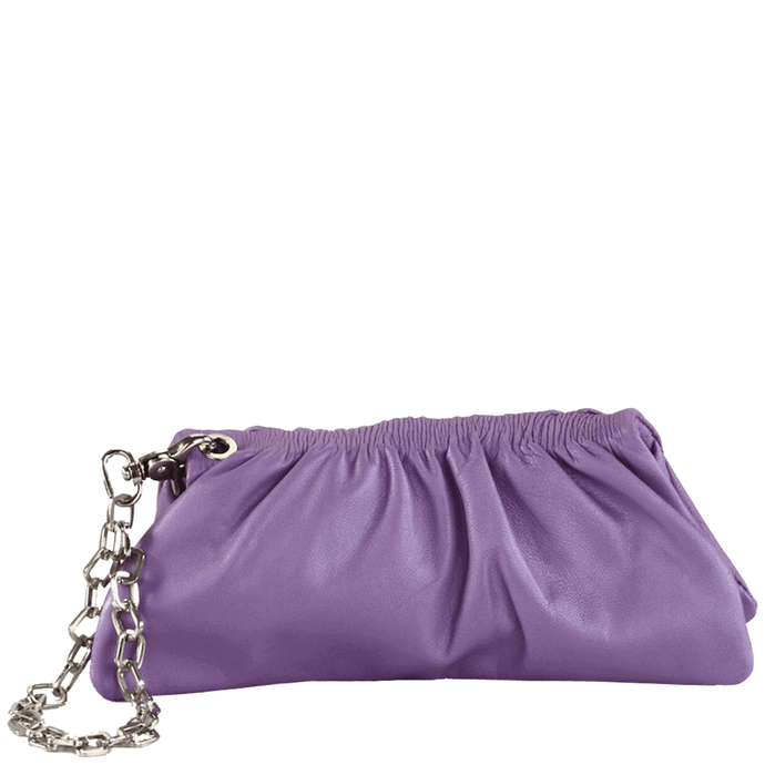 'SCARLETT'- Purple Designer Leather Clutch Bag