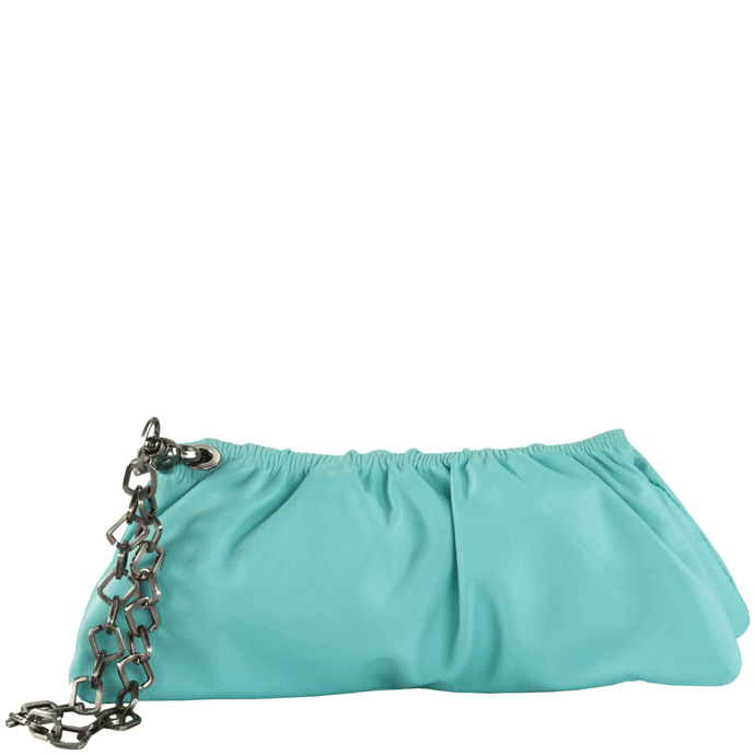 'SCARLETT'- Turquoise Designer Leather Clutch Bag