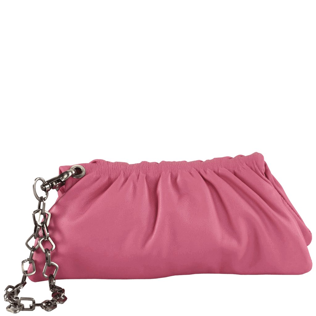 'SCARLETT' - Pink Designer Leather Clutch Bag