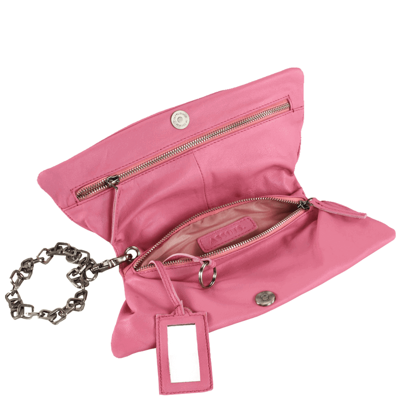 'SCARLETT' - Pink Designer Leather Wristlet Clutch Bag