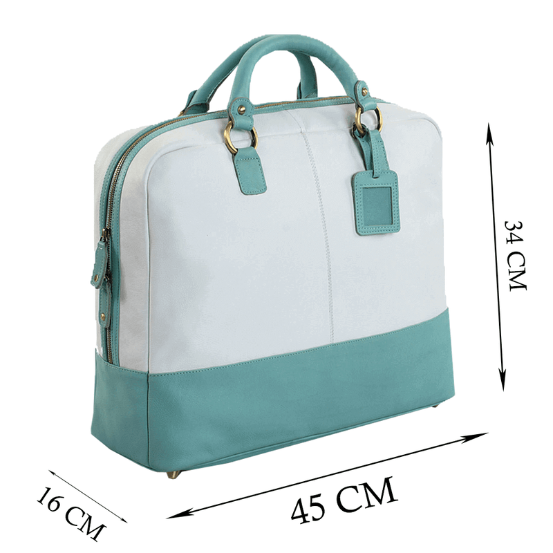 'KILBURN' White & Turquoise Designer Leather Oversized Travel Bag