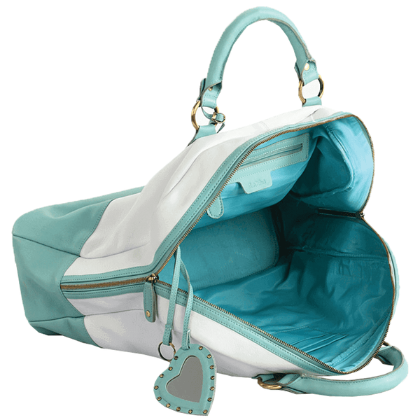 'KILBURN' - White & Turquoise Designer Leather Oversized Travel Bag