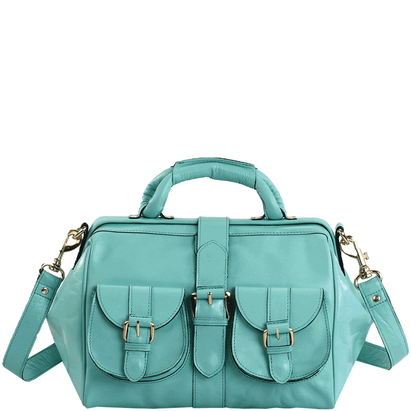 'BARBICAN' - Turquoise Designer Leather Tab-over Bowling Bag