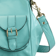 'BARBICAN' - Turquoise Tab-over Full Grain Travel Bag