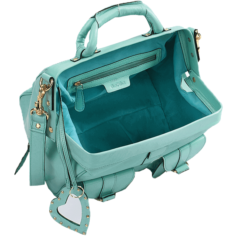 'BARBICAN' - Turquoise Leather Tab-over Bowling Bag