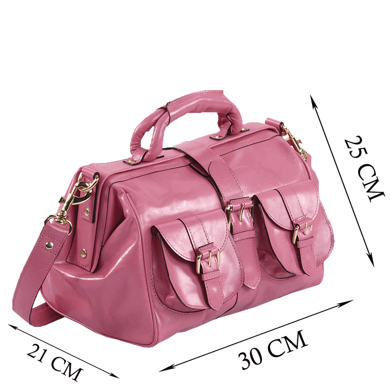 'BARBICAN' - Pink Leather Tab-over Bowling Bag