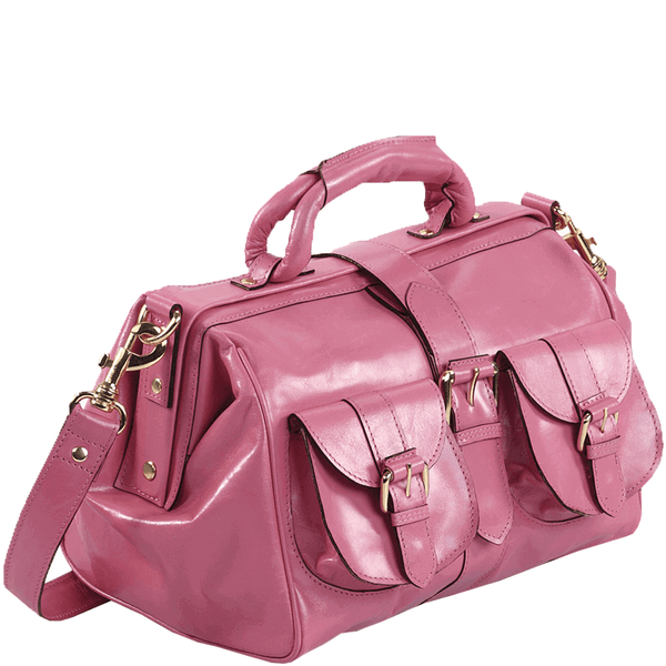 'BARBICAN' - Pink Designer Leather Tab-over Bowling Bag