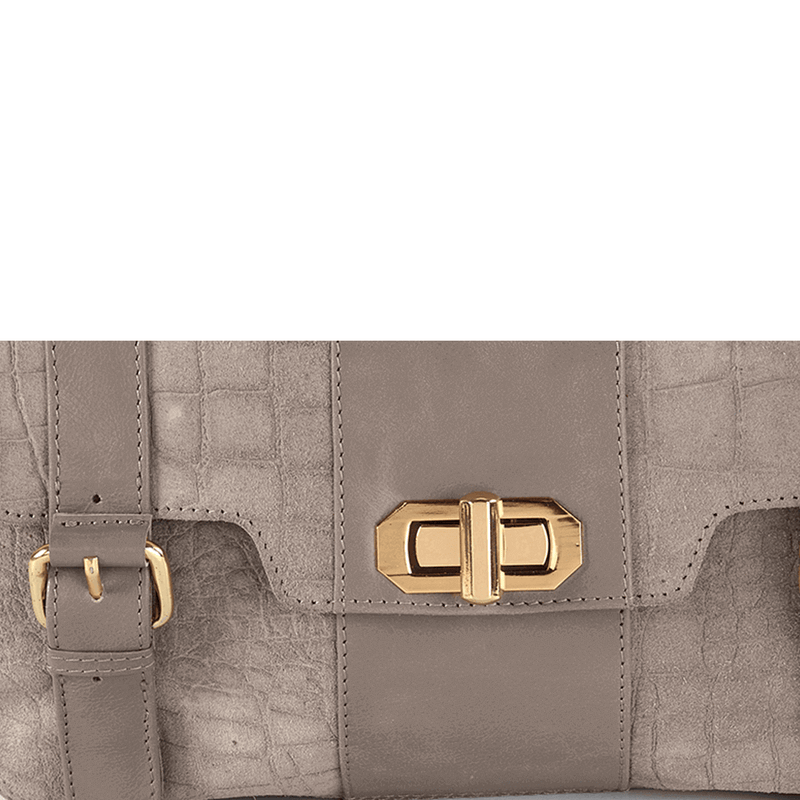 'HARBOURNE' Grey Croc Suede with Leather Trims Turn Lock Satchel Bag