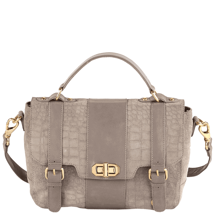 'HARBOURNE' - Grey Croc Suede with Leather Trims Turn Lock Satchel Bag
