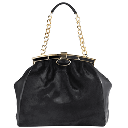 'PINNER' - Black Hair-On Gold Metal Frame Crossbody Bag