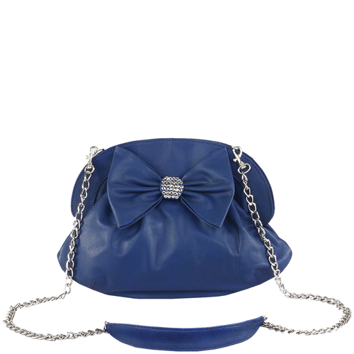 'WOODFORD' - Blue Studded Bow Evening Shoulder Bag