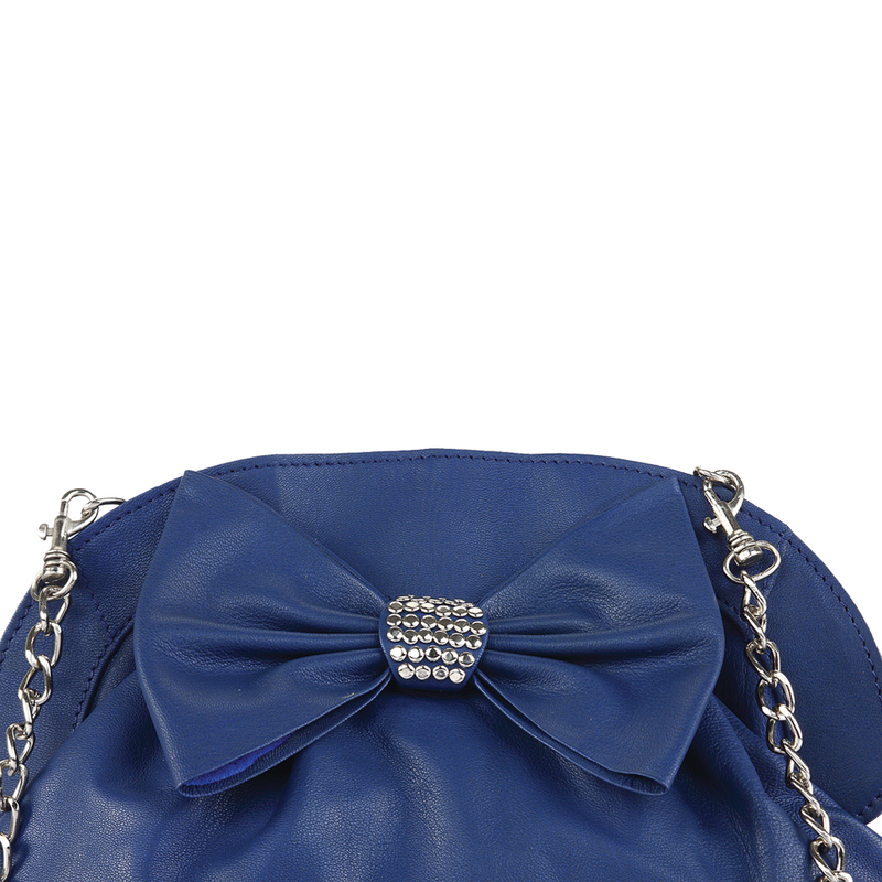 'WOODFORD' - Blue Designer Leather Studded Bow Evening Shoulder Bag