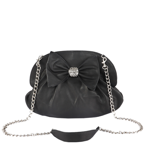 'WOODFORD' - Black Studded Bow Evening Shoulder Bag