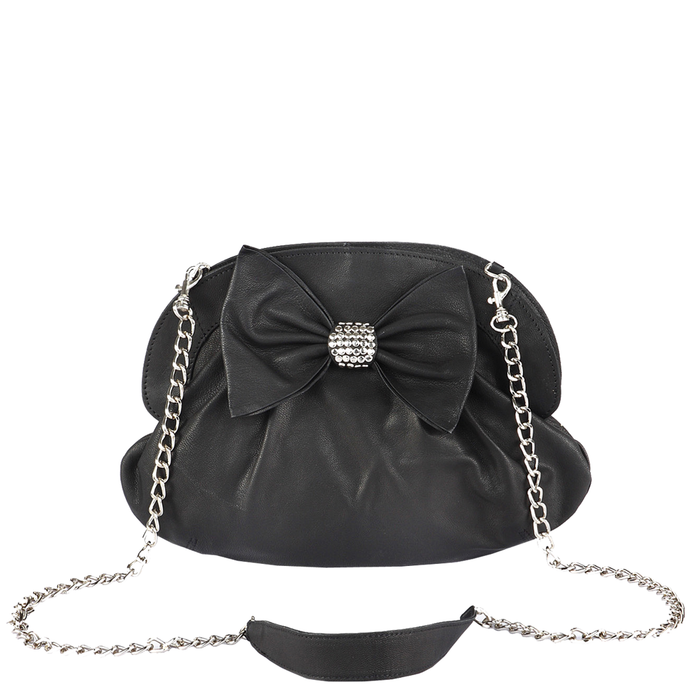 'WOODFORD' - Black Designer Leather Studded Bow Evening Shoulder Bag