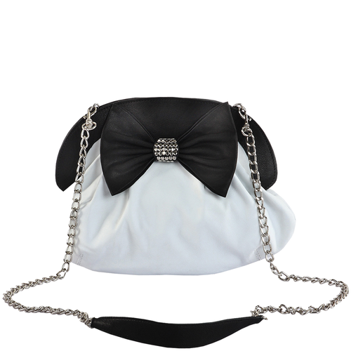 'WOODFORD' - White Studded Bow Evening Shoulder Bag
