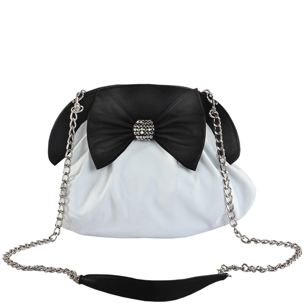'WOODFORD' - White Designer Leather Studded Bow Evening Shoulder Bag